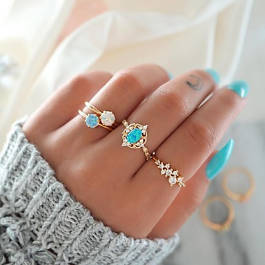 billige Motering-Dame Nail Finger Ring Ring Set Midi Ring Opal 4stk Gull Legering Rund Søt Mote Fargerik Fest Gave Smykker Fancy Blomst Sukkertøy Kul Smuk