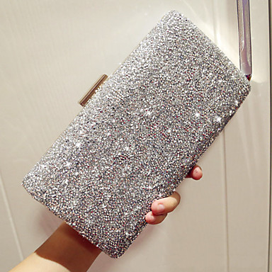 cheap Clutches & Evening Bags-Women's Rhinestone PU Evening Bag Rhinestone Crystal Evening Bags Solid Colored Black / Gold / Silver