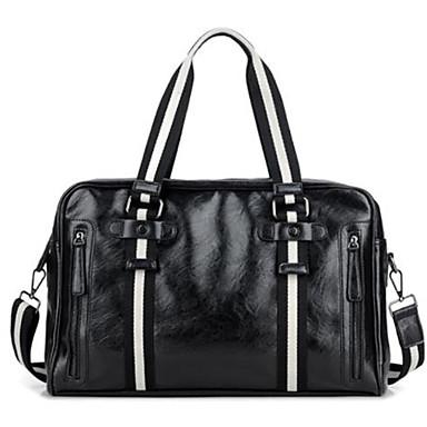 Muškarci PU Tote torbica Prugasti uzorak Crn