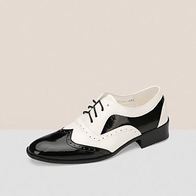 cheap Men's Dance Shoes-Men's Dance Shoes Patent Leather Modern Shoes Flat Low Heel Customizable Black / White / Performance / EU43