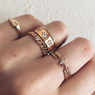 billige Motering-Dame Knokering Ring Set Midi Ring Kubisk Zirkonium 7pcs Gull Fuskediamant Legering Statement Vintage Bohem Gave Daglig Smykker Retro Stjerne Heart