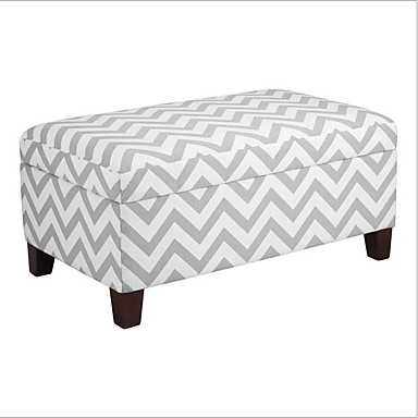 Incredible 211 04 Grey White Chevron Stripe Padded Storage Ottoman Bench Caraccident5 Cool Chair Designs And Ideas Caraccident5Info
