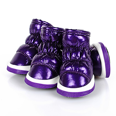 cheap Dog Clothes-Dog Boots / Shoes Solid Colored Keep Warm Snow Boots Dog Clothes Black Purple Fuchsia Costume PU Leather XS S M L XL