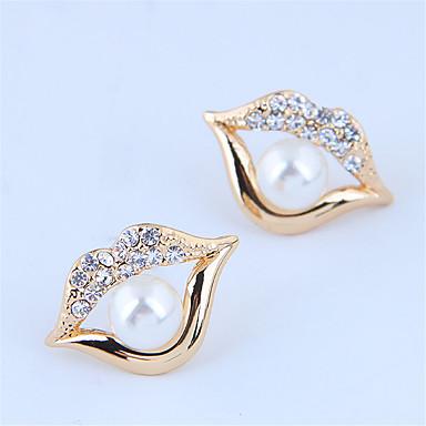 levne Dámské šperky-Dámské Peckové náušnice Náušnice Pusa stylové Klasické Evropský Napodobenina perel Umělé diamanty Náušnice Šperky Zlatá Pro Dar Denní Dovolená Práce 1 Pair