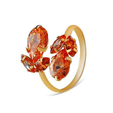 billige Motering-Dame Ring Justerbar ring Krystall 1pc Oransje Gullbelagt Legering Fest Engasjement Smykker Klassisk Pære Kul