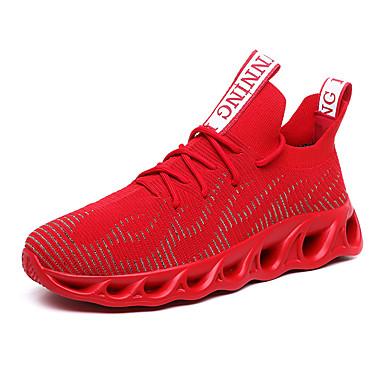 Homens Sapatos Confortáveis Couro / Com Transparência Verão Casual Tênis Caminhada Respirável Preto / Branco / Vermelho