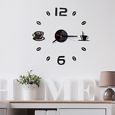 cheap Wall Clocks-Modern Contemporary / Fashion Acrylic Round Classic Theme Indoor Battery Decoration Wall Clock Yes Black No