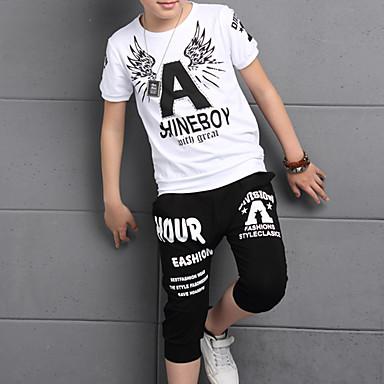 povoljno Odjeća za dječake-Djeca Dječaci Osnovni Punk & Gotika Geometrijski oblici Print Kratkih rukava Kratka Pamuk Komplet odjeće Obala