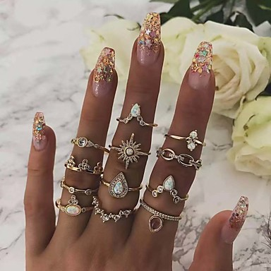 cheap Rings-Women's Ring Ring Set everly rings 12pcs Gold Rhinestone Alloy European Trendy Fashion Daily Carnival Jewelry Classic Sun Pear Cool