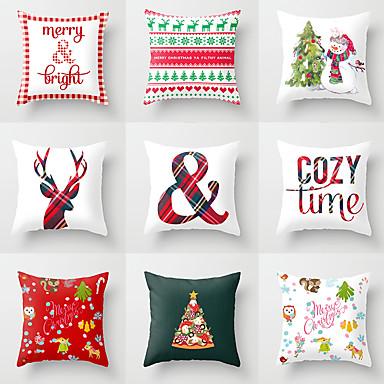 preiswerte Kissen-1 Stück Polyester Kissenbezug, Urlaub Weihnachten Dekokissen