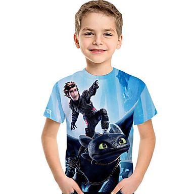 povoljno Odjeća za dječake-Djeca Dijete koje je tek prohodalo Dječaci Aktivan Osnovni Print Print Kratkih rukava Majica s kratkim rukavima Svjetloplav