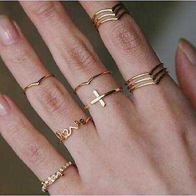 billige Motering-Dame Ring Ring Set Midiringe 11 deler Gull Strass Legering Enkel Europeisk trendy Daglig Karneval Smykker Klassisk Kors Bokstaver Kul