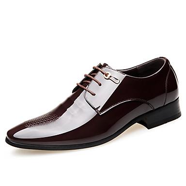 בגדי ריקוד גברים נעליים פורמליות עור פטנט אביב קיץ סגנון סיני נעלי אוקספורד ללבוש הוכחה שחור / חום / מסיבה וערב