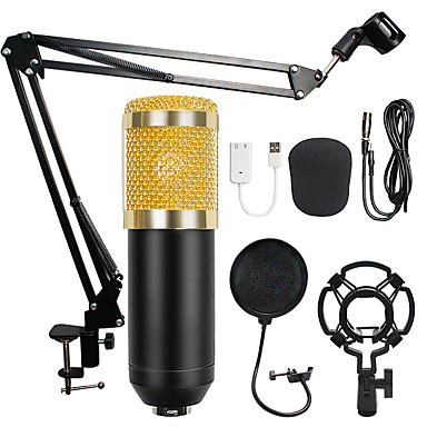 cheap Audio & Video-Professional Condenser Audio 3.5mm Wired BM800 Studio Microphone Vocal Recording KTV Karaoke Microphone Mic W/Stand For Computer