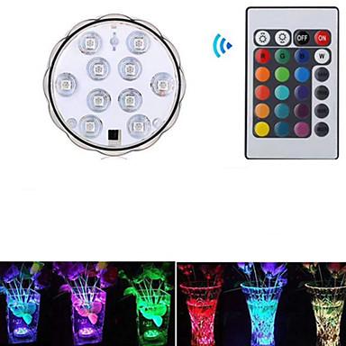 1pc 3 W תאורה מתחת למים עמיד במים / נשלט מרחוק / דקורטיבי RGB 5.5 V בריכת שחיה / מתאים לאגרטלים ואקווריומים 10 LED חרוזים