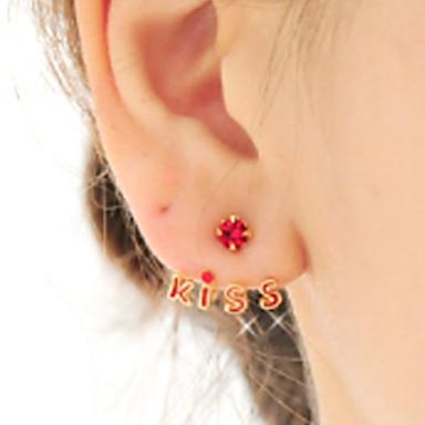 povoljno Modne naušnice-Žene Sitne naušnice Magic Back Earring Geometrijski Slovo Stilski Moda Početno Nakit Naušnice Jewelry Crn / Pink / Burgundac Za Dnevno Festival 1 par