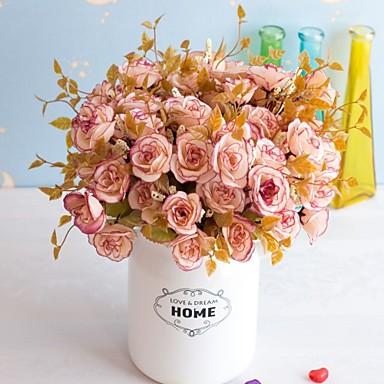 5pc פרח מלאכותי 14 פרסי עלה 7 המזלג עלה מלאכותי פרח עיצוב קישוט מתנה קישוטים