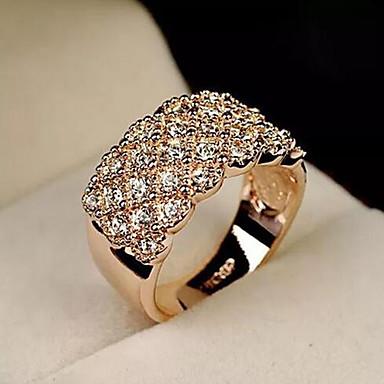 voordelige Band Ring-Dames Bandring Micro Pave Ring 1pc Goud Zilver Strass Legering Rond Stijlvol Eenvoudig Dagelijks Werk Sieraden Klassiek Kostbaar Cool Schattig