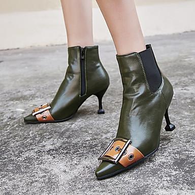 voordelige Dameslaarzen-Dames Laarzen Fashion Boots Kleine hak Gepuntte Teen PU Kuitlaarzen Vintage / Brits Herfst winter Zwart / Groen / Feesten & Uitgaan