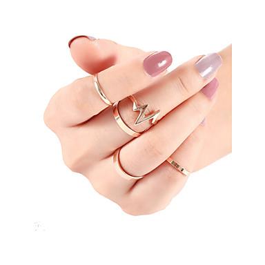 levne Pánské šperky-Pánské Dámské Sada kroužků Midi prsteny Stohovatelné kroužky 5pcs Zlatá Stříbrná Slitina Punk Moderní Módní Denní Street Šperky Geometrické Srdeční frekvence Cool