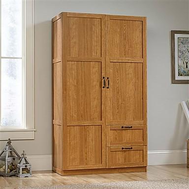 45884 Bedroom Wardrobe Cabinet Storage Closet Organizer In Medium Oak Finish