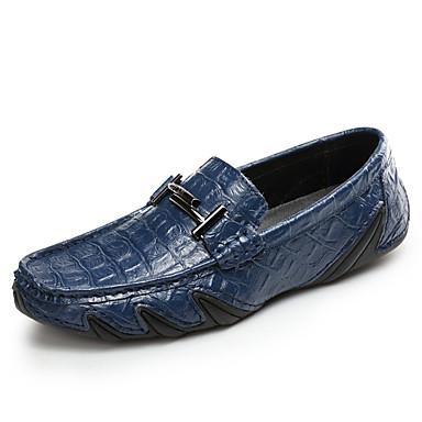 בגדי ריקוד גברים מוקסין עור סתיו / אביב קיץ יום יומי / בריטי נעליים ללא שרוכים הליכה נושם שחור / כחול כהה / חום