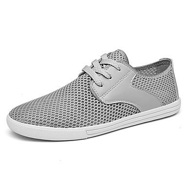בגדי ריקוד גברים נעלי נוחות רשת / PU קיץ / אביב קיץ ספורטיבי / יום יומי נעלי ספורט הליכה נושם לבן / שחור / אפור
