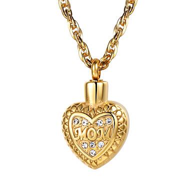 levne Dámské šperky-Dámské Průsvitné Křišťál Náhrdelníky s přívěšky Náhrdelník Charm náhrdelník Plovoucí Locket Srdce Lahůdka Módní Pozlaceno 18k Titanová ocel Růže pozlacená Zlatá Stříbrná Růžové zlato 55 cm Náhrdelníky