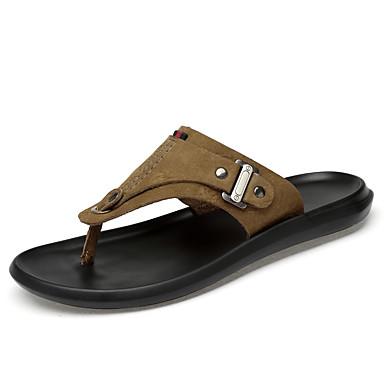 בגדי ריקוד גברים נעלי עור עור נאפה Leather קיץ קלסי / יום יומי כפכפים & כפכפים הליכה נושם חום / חאקי