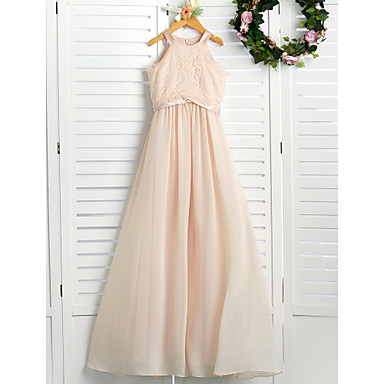 cheap Baby & Kids-A-Line Crew Neck Floor Length Chiffon / Lace Junior Bridesmaid Dress with Lace / Sash / Ribbon