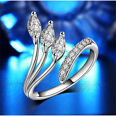 billige Motering-Dame Åpne Ring Kubisk Zirkonium 1pc Hvit Edelsten og krystall Kobber Geometrisk Form Stilfull Gave Daglig Smykker geometriske Glede Smuk
