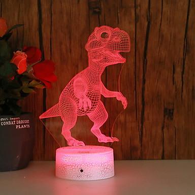 1pc 3D דינוזאור לילה שינוי צבע aa סוללות מופעל Creative 5 v