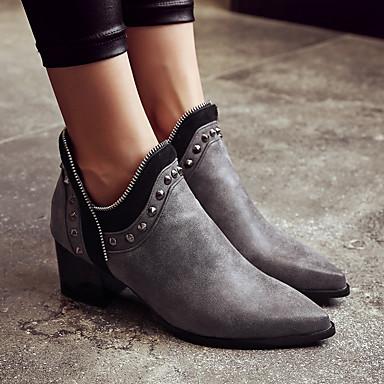בגדי ריקוד נשים מגפיים Fashion Boots עקב עבה בוהן מחודדת ניטים PU מגפונים\מגף קרסול וינטאג' / בריטי סתיו חורף שחור / אפור / צהוב / מסיבה וערב