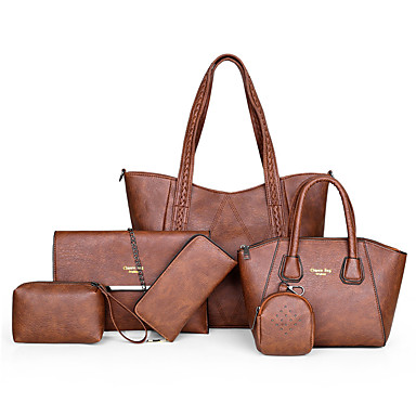 cheap Bag Sets-Women's Rivet PU Bag Set Solid Color 6 Pieces Purse Set Black / Brown / Dark Brown