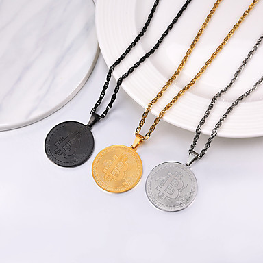 cheap Pendant Necklaces-Men's Women's Pendant Necklace Necklace Coin Simple Fashion 18K Gold Plated Titanium Steel Black Gold Silver 55 cm Necklace Jewelry 1pc For Gift Daily Graduation School / Charm Necklace