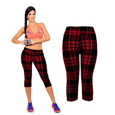 בגדי ריקוד נשים מכנסי יוגה פס ריצה כושר וספורט כושר אמון 3/4 טייץ 3/4 קפרי מכנסיים לבוש אקטיבי פתילת לחות סטרצ'י (נמתח) סקיני