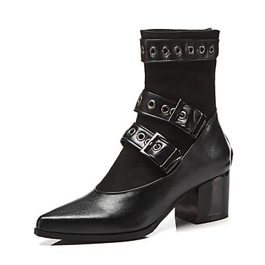 בגדי ריקוד נשים מגפיים נעלי עקב עקב עבה בוהן עגולה PU מגפיים באורך אמצע - חצי שוק וינטאג' / בריטי סתיו חורף שחור / מסיבה וערב