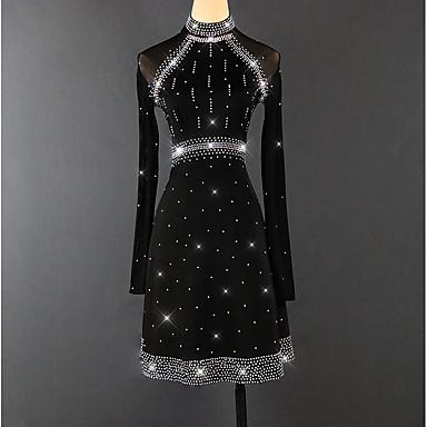 ריקוד לטיני שמלות בגדי ריקוד נשים הדרכה / הצגה ספנדקס קריסטלים / אבנים נוצצות שרוול ארוך גבוה שמלה