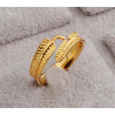 billige Motering-Dame Åpne Ring 1pc Gull 18 K gull fylt Geometrisk Form Stilfull Gave Daglig Smykker Klassisk Fjær Smuk