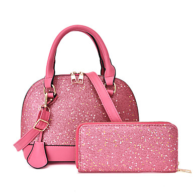 cheap Bag Sets-Women's Bags PU Leather Bag Set 2 Pieces Purse Set Glitter Sequin Solid Color for Daily / Date White / Black / Red / Blushing Pink / Bag Sets