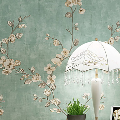 cheap Wall Art-Wallpaper Nonwoven Wall Covering - Adhesive required Floral / Botanical