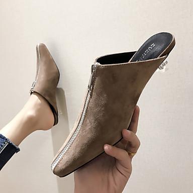 ราคาถูก รองเท้าส้น Lucite-สำหรับผู้หญิง รองเท้าไม้ & รองเท้าหัวทู่ Heterotypic Heel Pointed Toe PU หวาน / minimalism / ส้น Lucite ฤดูร้อนฤดูใบไม้ผลิ ไวน์ / สีกากี
