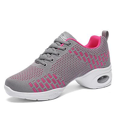 abordables Chaussures de Danse-Femme Chaussures de danse Coton / Faux Cuir / Polyuréthane Baskets de Danse Paillettes / Gland / Fantaisie Basket Talon épais Noir / Rose / Rouge Foncé / Entraînement / Utilisation