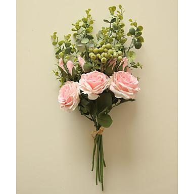 פרחים מלאכותיים 1 ענף קלאסי פרחי חתונה פסטורלי סגנון ורדים פרחים לשולחן