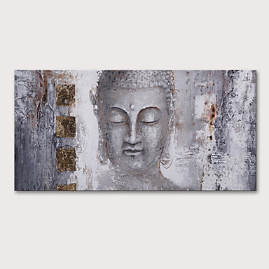 povoljno Ulja na platnu-Hang oslikana uljanim bojama Ručno oslikana - Religiozno Apstraktni portreti Vintage Tradicionalno Uključi Unutarnji okvir
