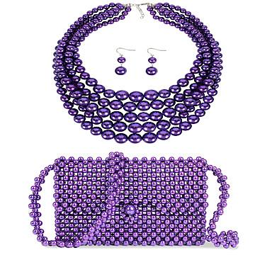 levne Dámské šperky-Dámské Fialová Visací náušnice Náhrdelník Náušnice Korálky Jednoduchý Luxus Klasické Vintage Módní Napodobenina perel Náušnice Šperky Fialová Pro Svatební Párty Zásnuby Dar Street 3 / İnci Kolyeler