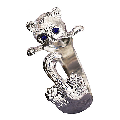 billige Motering-Dame Ring Åpne Ring Pussy Rings Kubisk Zirkonium 1pc Hvit Legering Geometrisk Form Stilfull Luksus Fest Gave Smykker Klassisk Kat Kul