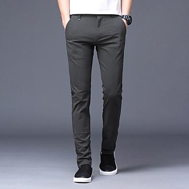 בגדי ריקוד גברים בסיסי רזה חליפות / צ'ינו מכנסיים - אחיד כותנה שחור אפור בהיר אפור כהה 29 30 31