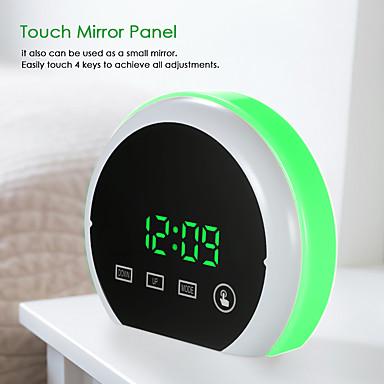 billige Smart vekkerklokke-digital vekkerklokke led touch speil vekkerklokke 12h / 24h display justerbar rgb fargerik belysning vekkerklokke dual usb porter