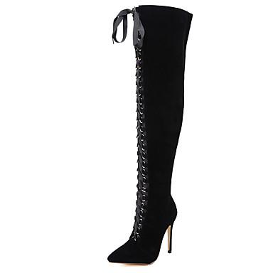 voordelige Dameslaarzen-Dames Laarzen Sexy Schoenen Naaldhak Synthetisch Dij-hoge laarzen Brits / minimalisme Lente / Herfst winter Zwart / Feesten & Uitgaan